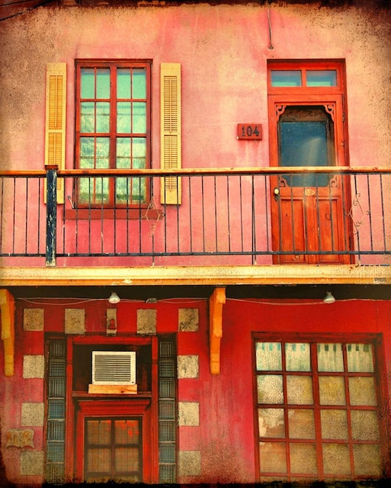 Colorful french canadian house retro vintage building facade windows   - PInk House 8 x 10