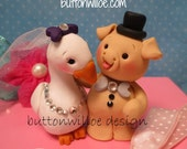 Goose and Pig Wedding Cake Topper Animal Cake Topper with Personalized Heart, Funny, Unique, Sweet