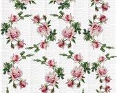 Instant Digital Download Cottage Shabbiest Pink Roses Flowers Vintage Era Transparent Background PNG - U Print ECS