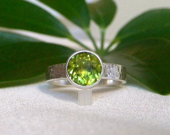 Peridot Ring with Hammered Silver Band