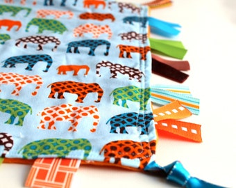 Blue Elephant Parade - Fiddle Fab Learning Lovey - a Sensory Security Blanket for Little Hands