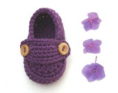 Crochet Baby booties purple loafers - baby girl shoes size 0/3months with giftbox ready to ship