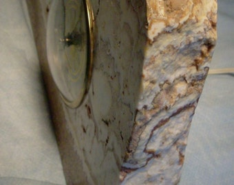 Vintage Lanshire Art Deco Onyx CLOCK Shelf Mantle Onyx Stone Clock art deco mid century