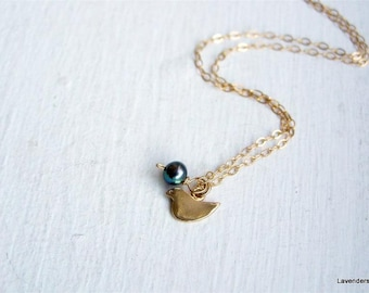 Tiny Bird Necklace  in Gold fill with Gray   Pearl , Dove Necklace , Minimalist