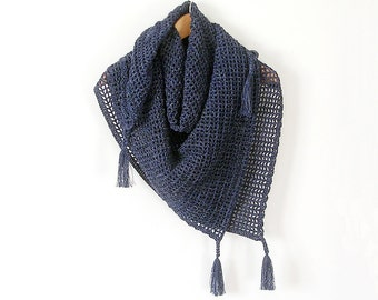 Blue  Square Scarf  Shawl with Tassel Crochet Shawl Stole Crochet Kefiah
