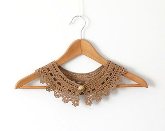 Cinnamon Lace Collar  Camel Necklace Irish Style Detachable Collar