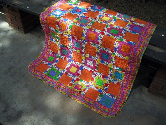 Lap Quilt with Geometric Circles, Baby Quilt with Circles, Orange Quilt, Modern Bright Quilt, Bright Circles and Dots Blankets, Bedding
