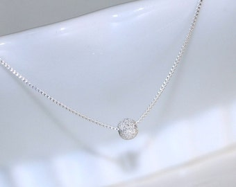 Tiny Silver Stardust Necklace, Silver Stardust Pendant on Fine Sterling Silver Necklace Chain