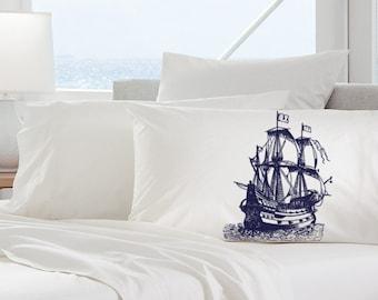 Navy Blue Nautical Tall Clipper Ship Sail Boat Pillowcases pillow cover
