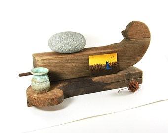 Vintage Wood Curio Shelf Pedestal Display Shelves Rustic Decor