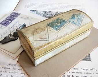 Vintage Handmade Wood Box Italy Stamps Trinkets Treasures