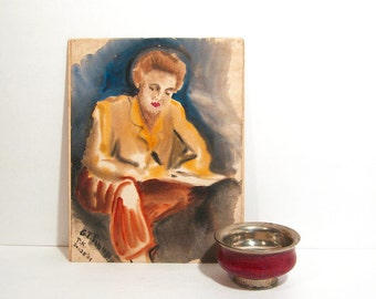 Original Watercolor Painting Woman Writing Letter WWII