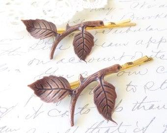 Copper Leaf Branch Bobby Pin Set - Copper Leaf Branch - Woodland Collection - Whimsical - Nature - Bridal