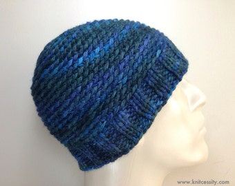 Mens Beanie Hat in Hand Dyed Baby Alpaca, Custom Made Crochet Knit Hat in Forest Green Blue Navy, Reversible / BEDFORD / Shown in Color H19