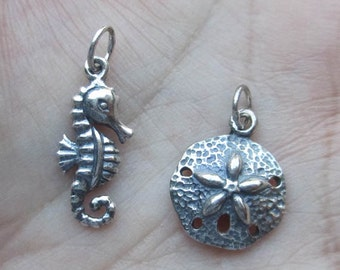 Sterling Silver Seahorse or Sand dollar Charm(one charm)You choose which one