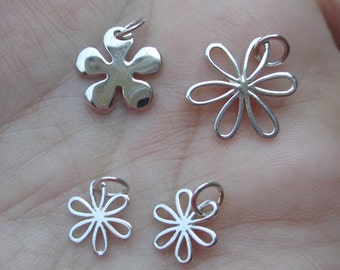 Sterling Silver Daisy Flower Charms- You choose which ones