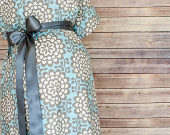 Sadie Maternity Labor and Delivery Bundle including a Hospital Gown, Robe, Headband, Car Seat Canopy, and Burp Pad Bundle
