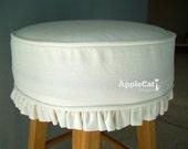 Bar Stool Cushion and Slipcover White Canvas Round Bar Stool Slipcover Barstool Cover