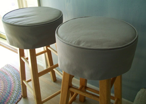 Round Bar Stool Covers Gray Canvas Barstool Slipcover With