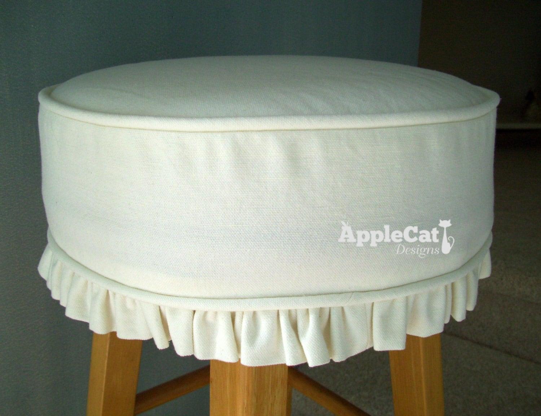 Bar Stool Cushion And Slipcover White Canvas Round Bar Stool