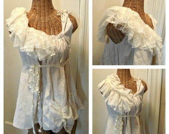 Lace Ruffle Tunic Blouse Medium Large Patisserie Ivory Cream Cotton Boho Bow Hem Womens