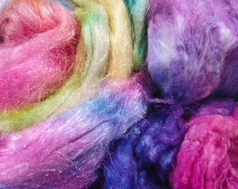 Haughty Melodic - Hand Dyed MEGA Silk and Sparkle Fiber Kit