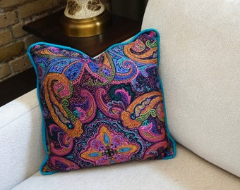 Reduced / Vintage 1960s Decorative Pillow NOS / Jewel Tone, Paisley, Throw Accent Boudoir Pillow