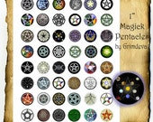 "Magic Pentacles Pentagrams 1"" inch circles, Instant Digital Download Printable Collage Sheet"