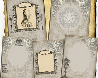 Enchantment Spell Pages 5pc Set - Digital Download - Book of Shadows, Grimoire, Scrapbook, Wiccan, Occult