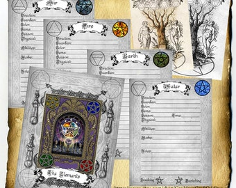 Elemental Studies Digital Pages, 7 original coordinating pages for Book of Shadows and Grimoires