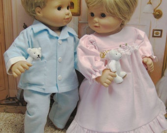 Pink and Blue Sleepwear for Bitty Baby Twins