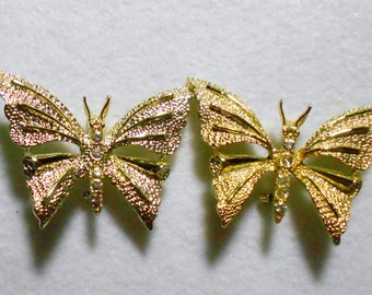 Set of Two Gerry's Signed Butterfly Brooches with Rhinestones