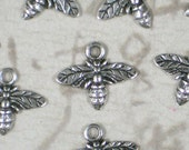 16 Honey BEE Charms Silver 13mm x 15mm Antiqued  (P1426)