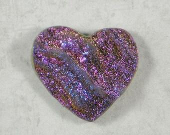 Druzy Heart Purple Gold & Blue Drusy Cabochon 35mm Titanium Coated (D2593C)