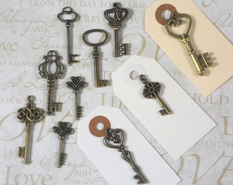 100 Keys Collection Bronze & Cardstock Tags Vintage Style 2 Sided Replica BuLK (K31 - 100T1)