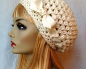 SALE Crochet Slouchy Beret, Womens Hat, Off White Cream, Pick Your Color, Chunky, Warm, Teens, Birthday Gifts for Her JE505BTR2