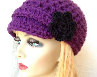 SALE Crochet Womens Hat, Newsboy, Purple, Flower, Very Soft Chunky, Warm. Teens, Winter, Ski Hat, Birthday Gifts, Gifts for Her, JE222NF2