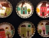 Our House Set of 6 Bottlecap Magnets
