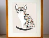 Katze-Liebhaber-Kunst, Katzendame Druck, Katze Wohnkultur, Katze Kunstdruck, Glückskatze Illustration, Glückskatze Druck, Glückskatze Kunstwerk