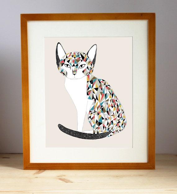 Cat Lover Art, Cat Lady Print, Cat Home Decor, Cat Art Print, Calico Cat Illustration, Calico Cat Print, Calico Cat Artwork
