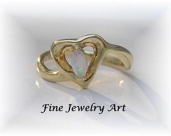 """Open Heart Opal Ring Handmade 14k Gold - Unique """"Joyful Heart"""" Jewelry Artist Design - Australian Opal Marquis Shaped"""