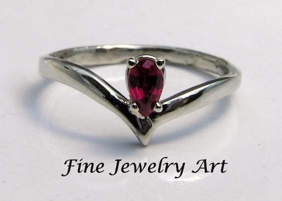 Ruby Bird Wings Ring Handmade 14k White Gold - July Birthstone Ring -Graduation Ring - Promise Ring - Engagement Ring - Gemstone V Ring