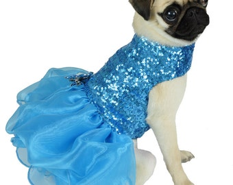 Sequin Blue Dog Cupcake Dress