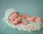 Aqua Mohair Bonnet Blanket Set Baby Girl Newborn Knit Mint Boy Photo Prop Texture Pixie Turquoise Going Home Outfit Teal Infant Coming Hat