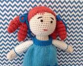 SaLE! Christmas gift Stuffed Crochet Doll Hand Knit dress girl gift Birthday baby shower Nursery Blue White Amigurumi Doll READY TO SHIP