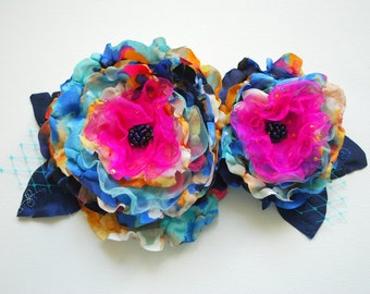 blue yellow pink flowers, weddings hair accessory, bridal hair flower, corsage, bridesmaids headpiece, flower girl, bridal colorful flowers