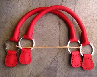 Handmade  Short Leather Bag Handles - Lipstick Red