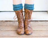 Knitted Boot Cuffs, Hand Knit Teal Wool (B01)