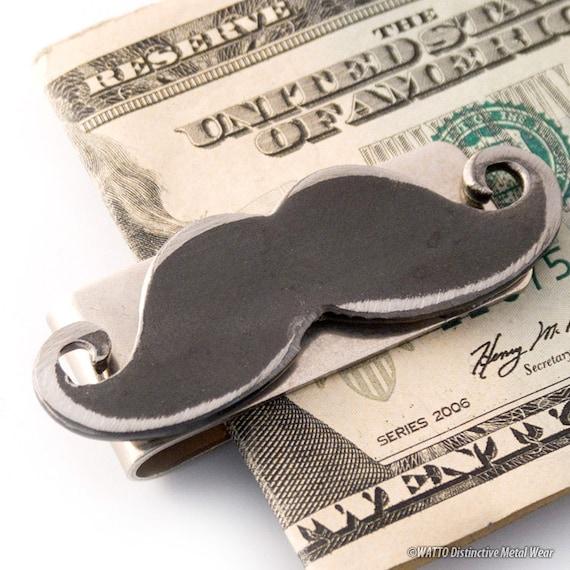 Mustache Money Clip / Men's Money clip / Gift for him, Best Man, Groomsmen Gifts,  Wedding by WATTO Distinctive Metal Wear