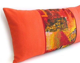 "1960s Mod Pillow Cover Vintage Mid-Century Abstract Print Fabric in Red and Gold / 24"" x 12"""